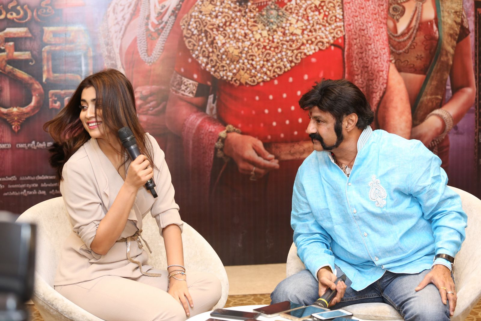 Brand new photo stills From the recent promotional event of Gautamiputra Satakarni   Gautamiputra Satakarni Brand New Stills From Promotional Event of Gautamiputra Satakarni GPSK Shriya Saran Balakrishna 1